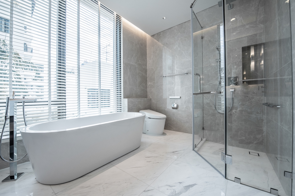A modern, spacious bathroom after a recent bathroom remodel